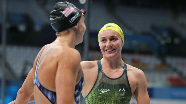 Ariarne Titmus and Katie Ledecky after their 400m freestyle final.