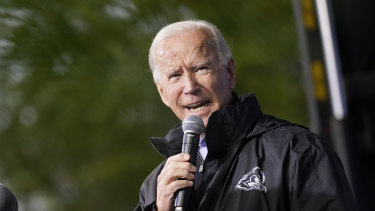 "Democratic presidential candidate former vice-president Joe Biden speaks at a ""Souls to the Polls"" drive-in rally in Philadelphia."