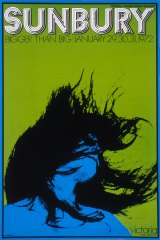 A poster for the first Sunbury Festival in 1972 designed by John Retska.