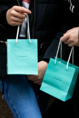 Tiffany & Co's signature blue bags.