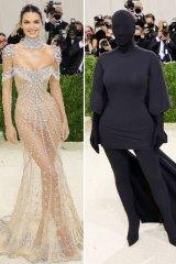 Sister Act: Kendall Jenner in Givenchy and Kim Kardashian in Balenciaga at the Met Gala.