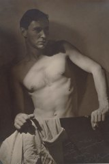 Detail from Olive Cotton's 1937 portrait of Max Dupain, Max after Surfing.