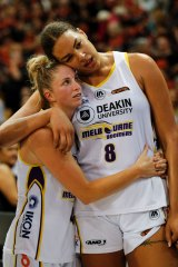Consolation: Cambage and Rebecca Cole look dejected after their Melbourne Boomers lost the WNBL grand final.