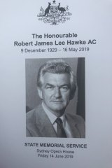 Order of service for Bob Hawke's memorial.