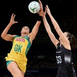 Sharni Layton in action on the netball court.