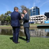 Then Deputy Premier and Minister for the Arts Troy Grant with then Premier Mike Baird at the newly announced location of the new Powerhouse Museum in Parramatta in 2016.