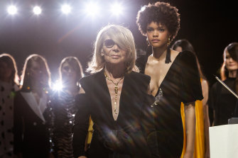 Carla Zampatti, in 2019, at her last show at Australian Fashion Week, which has named a runway space in her honour.