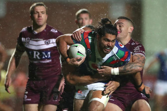 Tohu Harris charges the ball forward for the Warriors.