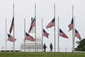 American flags flying at half-mast at the Washington Monument on May 22.