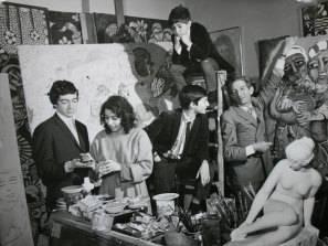 The Mora family in Mirka's Studio at Tolarno in 1967. From left to right: Philippe, Mirka, William, Tiriel (on ladder) and Georges