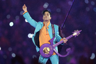 Prince performs during the halftime show at the Super Bowl in 2007.