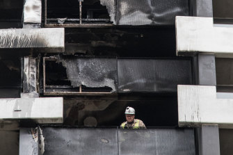 The cladding on a building in Melbourne that caught fire earlier this year.