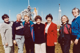 Members of the FLATs, also known as the Mercury 13, attend a shuttle launch in Florida in 1995. From left are Gene Nora Jessen, Wally Funk, Jerrie Cobb, Jerri Truhill, Sarah Rutley, Myrtle Cagle and Bernice Steadman.