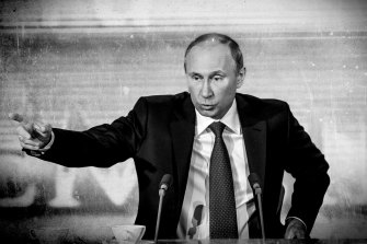Russian President Vladimir Putin, here speaking against Magnitsky laws during his end-of-year press conference in 2012, has made it a key foreign policy objective to block Magnitsky laws.