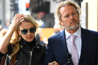 Craig McLachlan and his partner Vanessa Scammell outside court this week.