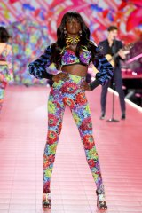 Duckie Thot walks the runway during the 2018 Victoria's Secret Fashion Show at Pier 94 on November 8, 2018 in New York City.