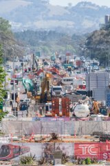 Light rail works up Northbourne Avenue from City Hill during peak construction in April.