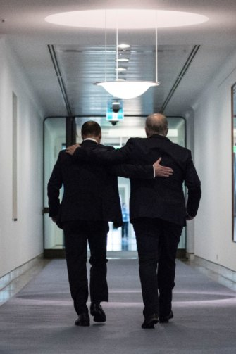 Incoming Prime Minister Scott Morrison and newly elected deputy leader of the Liberal Party Josh Frydenberg on August 24, 2018