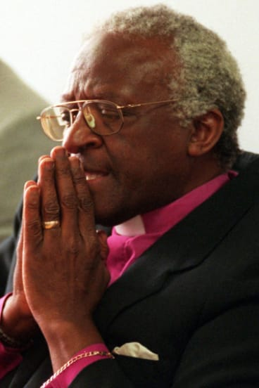 December 19, 1997: Archbishop Desmond Tutu, chairman of South Africa's Truth and Reconciliation Commission, prepares for a press conference.