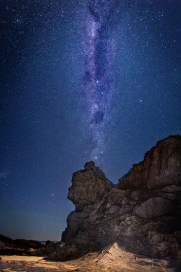 The Milky way captured over Queen Victoria Rock.