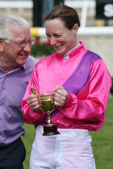 Linda Meech with trainer Ken Keys.