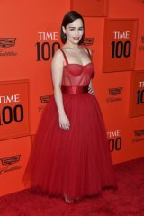 Back in favour ... Emilia Clarke in Dolce & Gabbana at the Time 100 Gala.