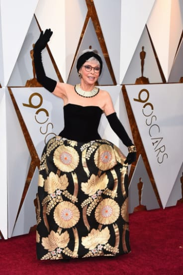 Still good after 56 years ... Rita Moreno at the 2018 Oscars in an updated version of her 1962 dress.