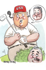 Donald Trump lashed Alexander Downer's during a golf game with Joe Hockey. Illustration: John Shakespeare