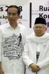 "Joko ""Jokowi"" Widodo and Ma'ruf Amin declare their joint ticket in Jakarta on Friday."