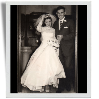Trish and Wally Franklin marry in 1961.
