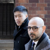 Mr Kinoial (formerly Buffy Nguyen) arrives at Parramatta local court with his lawyer Omar Juweinat.