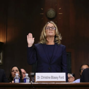 Christine Blasey Ford is sworn in before the Senate Judiciary Committee.