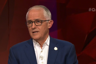Malcolm Turnbull on <i>Q&A</i>, where he took credit for the legalisation of same-sex marriage.