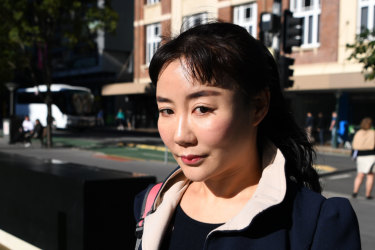 Yutian Li arrives at the District Court in Brisbane on Friday.