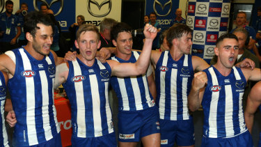 Relief: North Melbourne got their first win of the season against the Crows on Saturday night.
