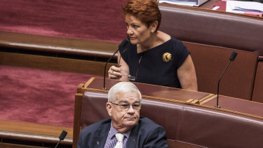 Brian Burston and Pauline Hanson in the Senate on Thursday.