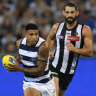 Up and about: Geelong's Tim Kelly has been in electrifying form in 2019, while Brodie Grundy is likely to give the Pies and edge in the ruck.