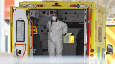 A London ambulance worker is seen at St Thomas' Hospital.