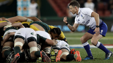 Work in progress: Referee Paul Williams watches as a scrum collapses at Ellis Park.