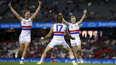 Josh Bruce celebrates after kicking his 10th goal in the match against North Melbourne.
