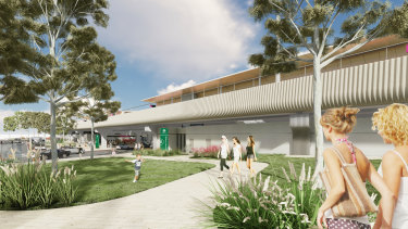 The new station design is inspired by the metal fluting on Transperth trains.