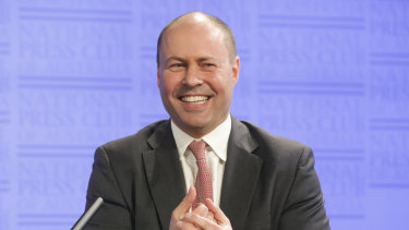 Treasurer Josh Frydenberg getting to grips with population issues at the National Press Club.