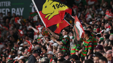 Rabbitohs fans celebrate their grand final appearance.