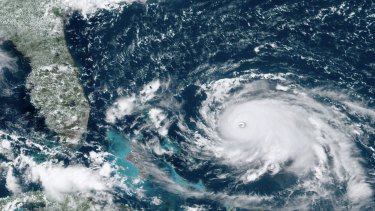 A satellite image of Hurricane Dorian as it bore down on the Bahamas on Saturday, local time.