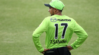 Tanveer Sangha of the Thunder looks on during the Big Bash League match between the Melbourne Stars and Sydney Thunder.