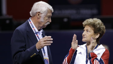 Victims of disgraced sports doctor Larry Nassar are imploring Texas authorities to investigate whether Bela and Martha Karolyi, pictured, could have done more to prevent Nassar's sexual abuse at the couple's Texas training centre.