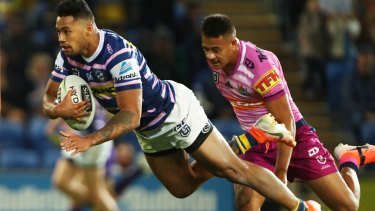 Flying Eels centre Waqa Blake crosses for one of his two tries on Friday night.