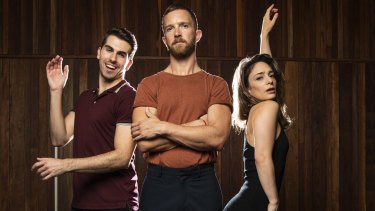 Daniel Assetta (left), Tim Draxl and Angelique Cassimatis star in Darlinghurst Theatre Company's production of A Chorus Line.