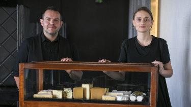 Renato Pagliardi and Bronte Millington presenting Vue de Monde's all-Australian cheese trolley.