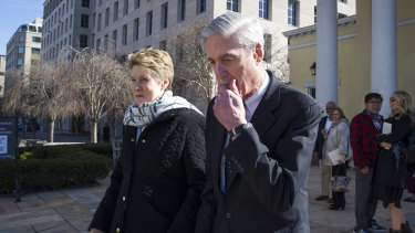 Former special counsel Robert Mueller and his wife Ann depart St John's Episcopal Church, across from the White House earlier this year. His Russia probe report determined Russia interfered in the US 2016 presidential election.